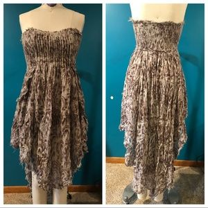 Free People Mauve pleated high low dress